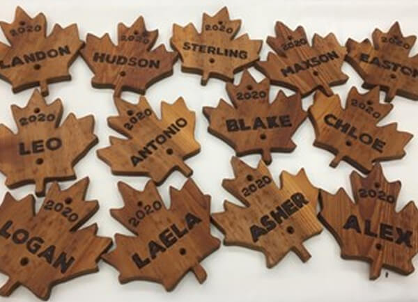 children's names engraved on leaves - friends of the forest